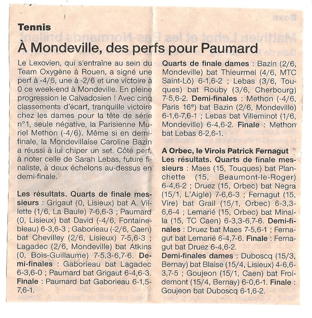 article Ouest-France du 17/03/2014 tournoi Mondeville