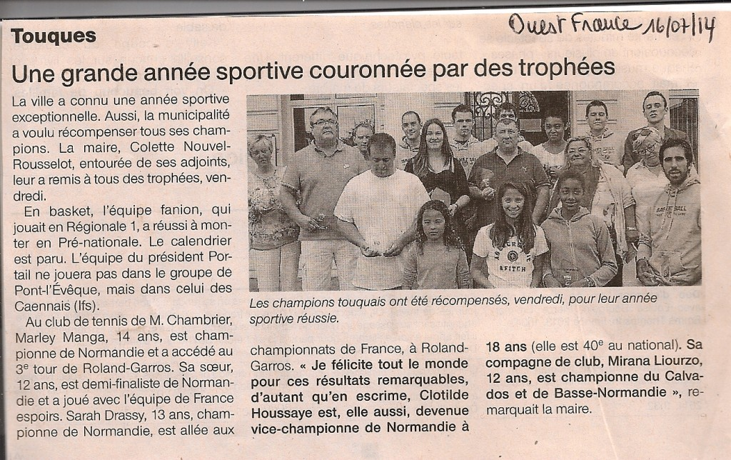 article OF : la ville récompense ses champions