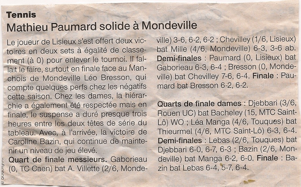 Tournoi de Mondeville - article paru dans Ouest France, pages sports